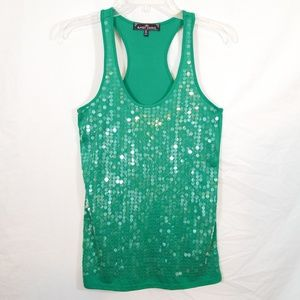 Emerald green sequin disc racer back tank top M